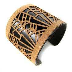 Metropolis Laser Cut Wood Cuff Bracelet Black Art Deco by ShopJoyo, $65.00