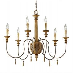 """F2733-6IC - Annabelle 29"""" Ivory Crackle 6-Light Chandelier by Feiss Lighting"""