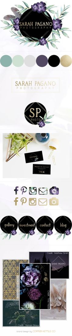 Copper Kettle Co // Brand Design for Sarah Pagano Photography - boho, gold foil, purple, sage and black watercolor floral logo, color palette, website button, business card, full brand design