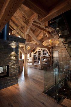 Kamin aus Lärche und Luzerne – Chalet Méribel – Chalets Ba … - Mountain Home Decor