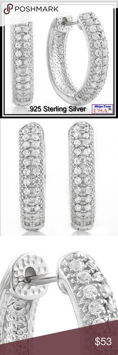 """WHITE SAPPHIRE HOOPS NEW PERFECT EARRINGS!! A PERFECT .60 TCW WHITE SAPPHIRE HOOPS SET IN 925 STERLING SILVER WEIGHT IS APPROX 5.4 GRAMS AND MEASURE APPROX .75"""" THESE HOOPS CAN BE WIRN FOR MOST ANY OCCASION includes black velvet gift pouch ELITE JEWELRY Jewelry Earrings"""