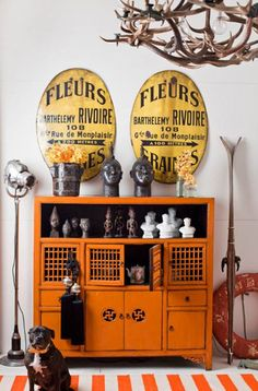 I WANT this orange buffet - think I can find something similar at Goodwill/DI and paint it?
