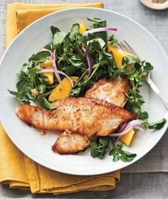 Seared Tilapia With Watercress and Mango Salad recipe from realsimple.com #myplate #protein #vegetables