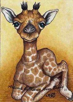 Nfac Original ACEO Nibblefest Art Baby Giraffe 1 Miniature Art Karen Anne Brady   eBay