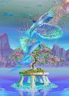 Waterlights by Jean-Luc Buzzoli a visionary artist Fantasy Artwork, Nature Pictures, Art Pictures, Arte Lowrider, Fantasy Kunst, Beautiful Fantasy Art, Beautiful Nature Wallpaper, Visionary Art, Angel Art
