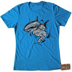 Sharknado Ladies Tshirt Sizes S-Xxl ($20) ❤ liked on Polyvore featuring tops, t-shirts, green, women's clothing, blue shirt, green t shirt, neon blue t shirt, combed cotton t shirts and green tee