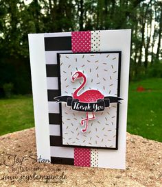 handmde thank you card: Pop of Paradise, Pep mit Pink ... black, white and pink ... washi tape stripes ... flamengo ... Stampin' Up!