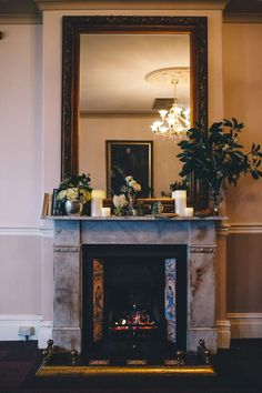 Beautiful fireplace in our Queen Victoria Ballroom | styled to perfection | Classic and elegant | Eschol Park House | Wedding venue