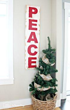 Pottery Barn knock-off Peace Christmas Sign
