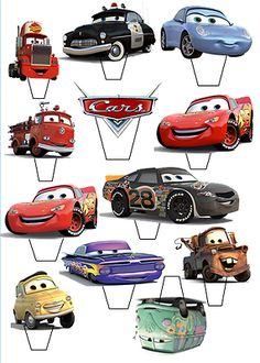 "12 x 3"" Disney Cars Lightening McQueen PRINTED CUPCAKE TOPPER STAND UP PRE - CUT"