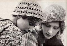 Retro Boho Cross-Stitch Cap and Ecru Beret PDF Crochet Patterns by MomentsInTwine on Etsy