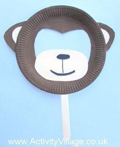 Paper Plate Monkey Mask