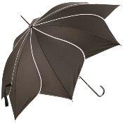 Lotus Swirl Walking Length Umbrella - Black with White Binding