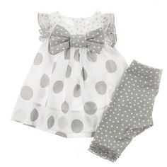 Monnalisa Baby Girls Grey Polka Dot Dress & Leggings Set