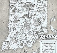 Vintage MAP Indiana, Perfect for Framing, Adorable, Beautifully Illustrated, Whimsical, Fun, Funky