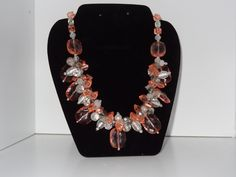 Handmade chunky cluster necklace: Peach/Orange, Clear and Silver Metal Beads by RoyalStreetBoutique on Etsy