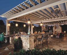 could pergola come from higher up in back of house and add fan and lights?!?!?!