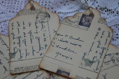 Gift tags made from vintage postcards