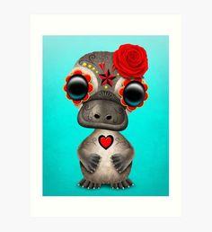 Red Day of the Dead Sugar Skull Baby Platypus Art Print Owl Artwork, Skull Artwork, Skull Drawings, Sugar Skull Owl, Baby Animal Drawings, Crown Tattoo Design, Monkey Tattoos, Cartoon Cow, Skull Illustration