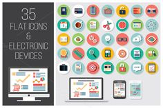 I just released 35 Flat Icons + 4 Electronic Devices on Creative Market.