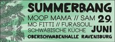 """Der Schülerrat der Stadt Ravensburg hat mit dem """"Summerbang Festival"""" etwas ganz besonderes in der Region geschaffen. Ein Festival das weit über die Stadtgrenzen hinaus einen guten Namen hat. Das Organisationsteam besteht aus dem aktuellen Schülerrat der Stadt, sowie einigen Ehemaligen. Eine Zusammenarbeit die für Kontinuität und Kreativität steht. Mit dabei sind:   Moop Mama  SAM  MC Fitti  Furasoul  Schwäbischen Küche"""