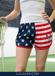 Rep the red, white and blue with our patriotic stars and stripes lacrosse shorts! Lacrosse Quotes, Girls Lacrosse, Field Hockey, Usa Flag, Our Girl, Sport Girl, Girl Photography, Casual Shorts, Style Inspiration