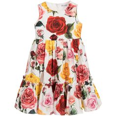 Made in lightweight cotton, this pretty dress for Mini-me girls has an opulent rose print also seen in Dolce & Gabbana's adult collection. The full skirt has a tier of ruffles near the hem for extra volume and it fastens with a zip on the back.