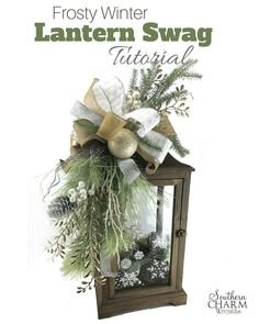 homedecor crafts Learn to make a frosty winter themed lantern swag by Southern Charm Wreaths. Christmas Time, Christmas Wreaths, Christmas Decorations, Christmas Ornaments, Winter Christmas, Decorating Lanterns For Christmas, Christmas Colors, Rustic Christmas, Primitive Christmas