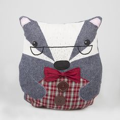 'Benoit The Badger' Tweed Character cushion cover complete with inner All Gifts, Cute Gifts, Gifts For Kids, Gifts For Her, Cushion Pads, Cushion Covers, Sass & Belle, Vintage Inspired Dresses, Soft Furnishings
