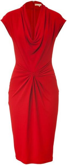 Crimson Red Draped Dress  Michael Kors