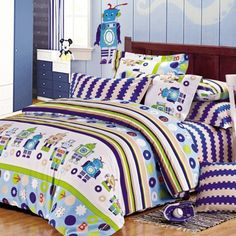 Lime Green Light Blue Navy Blue and White Cartoon Robot Print 100% Cotton Damask Twin, Full Size Bedding Sets for Kids, Girls and Boys