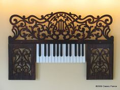 Recycled upcycled baby grand piano music stand with fretwork and keys as decoradive art wall hanging Music Furniture, Diy Furniture, Recycling Furniture, Eclectic Furniture, Furniture Refinishing, Upholstered Furniture, Upcycled Furniture, Furniture Projects, Piano Art