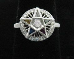 Ladies' Eastern Star Ring w/ Diamonds in Solid 14K White Gold, Like Brand NEW!