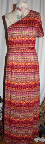 Boho-Syle-Maxi-Dress-by-L8TER-Size-XL-One-Shoulder
