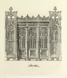 Design for a Gothic Revival Bookcase, England Gothic Architecture Drawing, Cathedral Architecture, Architecture Mapping, Classical Architecture, Historical Architecture, Architecture Details, Medieval, Structural Drawing, Gothic Pattern
