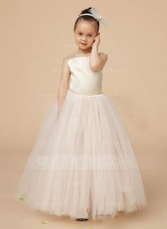 A-Line/Princess Square Neckline Floor-Length Ruffle Lace Cap Straps Sleeveless No Other Colors General Charmeuse Tulle Flower Girl Dress