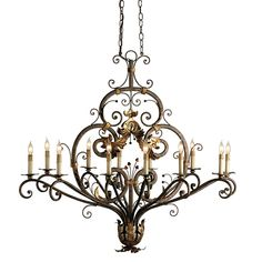 Currey Dominion Oval Chandelier  $1700 Heavy iron bar stock is wrought with intricate curves and embellishments that bring a detailed elegance to this imposing chandelier. Two chains stabilize and prevent this large piece from rotating as it hands. The true oval is useful in many a setting.
