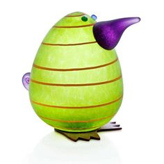 Kiwi Egg Paperweight: 24-02-94 in Lime Green, Hand-Blown Art Glass by Borowski Glass Studio