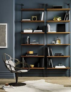 All the right angles for all the right stuff. Six fixed acacia veneer shelves stained a warm midtone brown ladder a squared metal tube frame powdercoated carbon. Interior Design Living Room Warm, Small Room Design, Family Room Design, Home Office Design, Home Office Decor, House Design, Home Decor, Office Ideas, Kitchen Interior