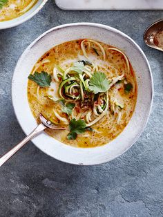 Thai coconut courgette soup - We've taken our courgetti obsession to the next level with this easy, healthy Thai coconut courgetti soup. Starting with room temperature courgettes means the soup won't cool down much when you pour it into the bowl and the courgette won't go soggy.