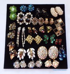 Estate Lot of Vintage Clip Earrings Weiss Art Rhinestone Cluster & More