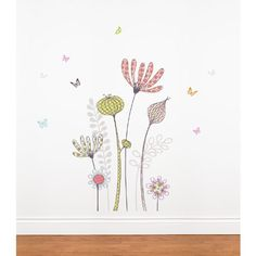 Mia  Co MIA111 Flowers and Butterflies Transfer Wall Decals * Be sure to check out this awesome product.