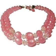 pink and white multi strand necklace -