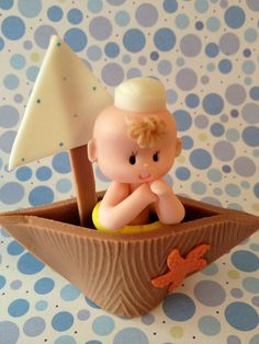 *COLD PORCELAIN ` Nautical Baby on a Boat/Small Cake Topper/Diaper Cake Topper/Birthday/Baby Shower