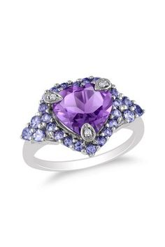 Sterling Silver Diamond Accented Heart-Shaped Amethyst & Pave Tanzanite Ring