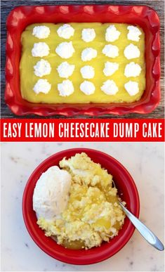 Easy Lemon Cheesecake Dump Cake Recipe! (4 Ingredients) - Never Ending Journeys Easy Lemon Cheesecake, Easy Cheesecake Recipes, Easy Cookie Recipes, Easy Recipes, Lemon Recipes, Frosting Recipes, Pumpkin Recipes, Spice Dump Cake Recipe, Easy Vanilla Cake Recipe