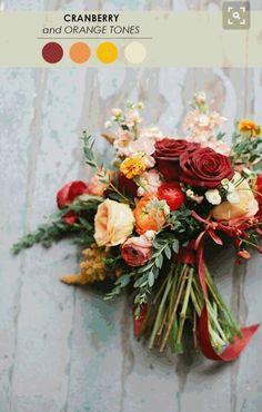 Wedding colors: cranberry, peachy orange, yellow, cream, sage green