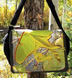 Laptop Bag  Luna Moths 3  Messenger Bag  Fits 13 To by floorartetc, $75.00