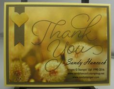 Here is a very simple idea using the So Very Much Thank You stamp from Sale-a-bration along with one of the Serene Scenery papers. Paper Cards, Thank You Cards, Serenity, Stampin Up, Scenery, Place Card Holders, Frame, Crafts, Catalog