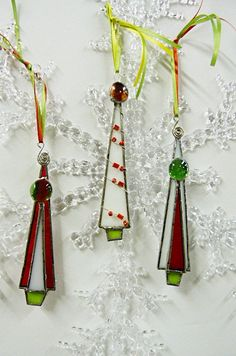 Red White and Green Stained Glass Tree Ornaments by miloglass, $23.00